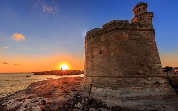 Фото обои пейзаж, скалы, рассвет, маяк, крепость, Balearic Islands, Ciudadela