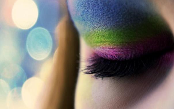 Фото обои макро, лицо, глаз, ресницы, макияж, тени, разноцветные