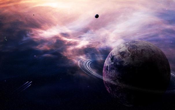 Фото обои туманность, планета, кольца