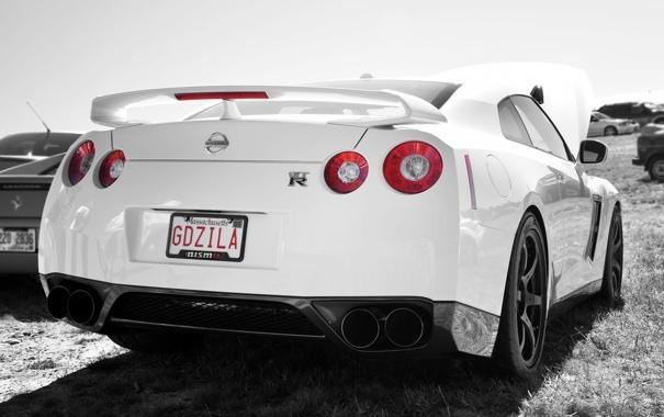 Фото обои белый, Nissan, white, GT-R, ниссан
