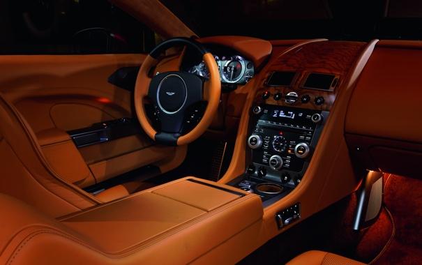 Фото обои Aston Martin, Rapide, интерьер, кожа, подсветка, суперкар, эксклюзив