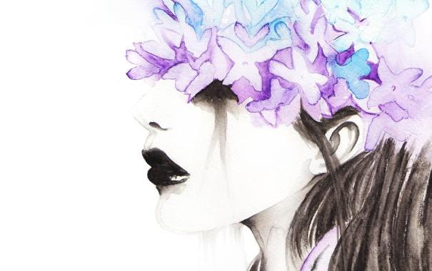 Фото обои цветы, рисунок, Девушка, акварель, черные губы