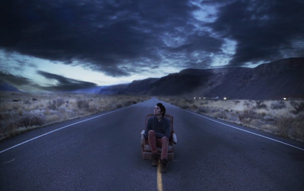 Фото обои дорога, ночь, парень
