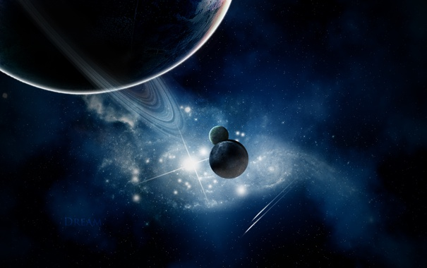 Фото обои звезды, планеты, кольца, спутники, nebula