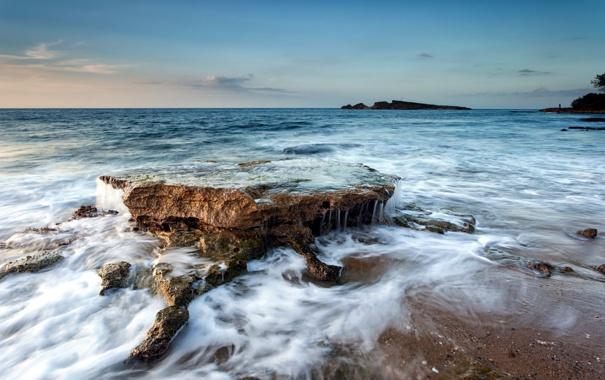 Фото обои море, волны, пейзаж, скалы