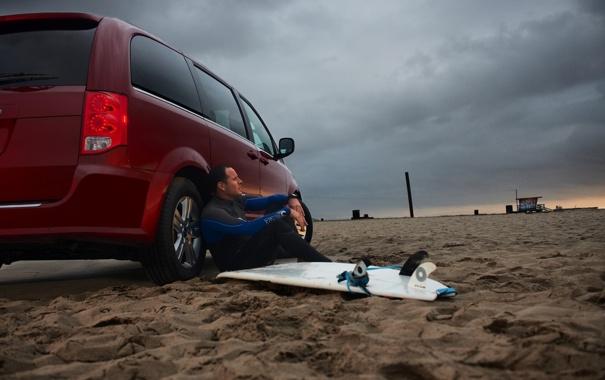 Фото обои машина, одиночество, мужик, берег