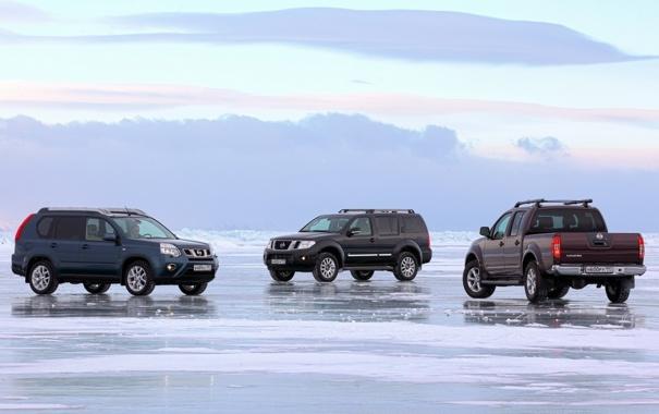 Фото обои небо, снег, озеро, лёд, Байкал, джип, Ниссан