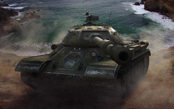 Фото обои вода, скалы, танк, USSR, СССР, танки, WoT