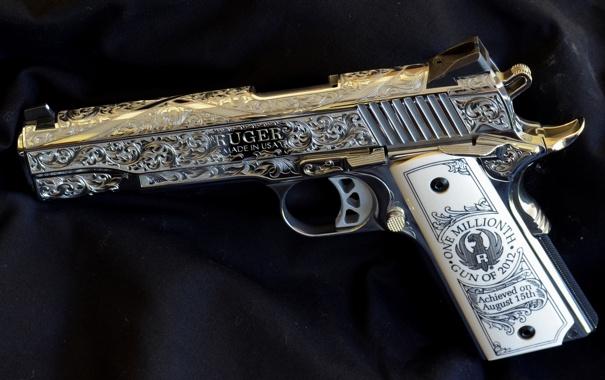 Фото обои silver, pistol, Ruger, handgun, decorated