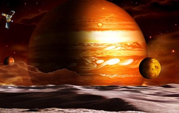 Фото обои облака, корабль, планета, спутники
