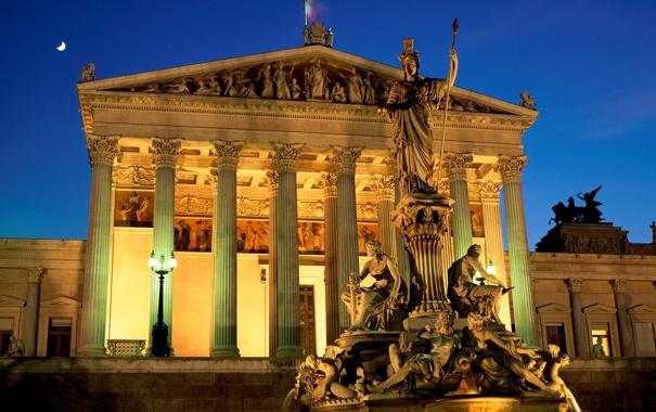 Фото обои небо, огни, здание, вечер, памятник, скульптура, колонна