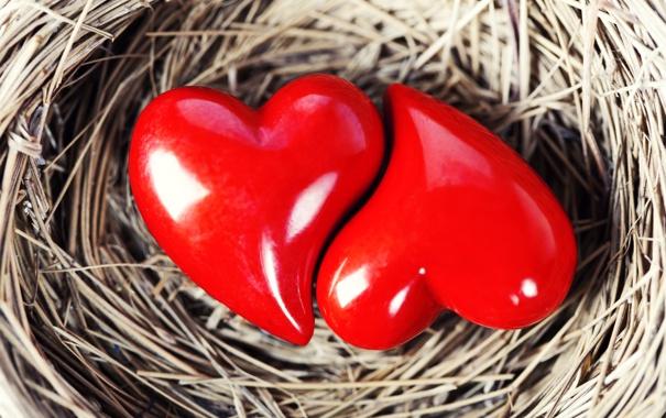 Фото обои сердца, сердечки, красные, форма, фигурки, плетеная