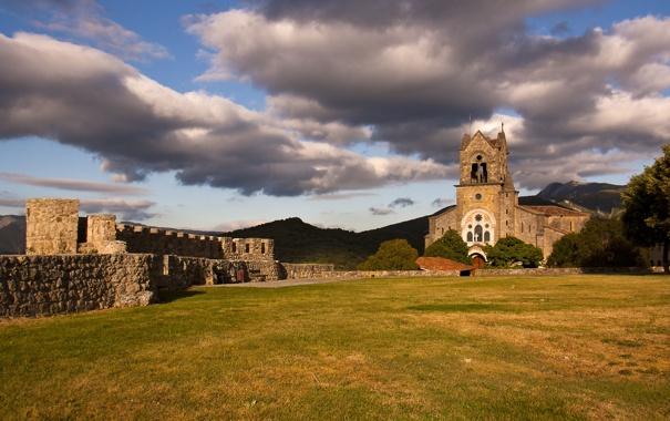 Фото обои grass, clouds, hills, ruin, church