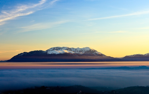 Фото обои туман, гора, Небо