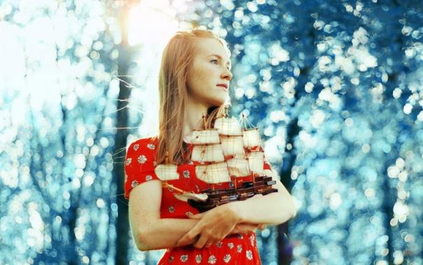 Фото обои девушка, настроение, корабль