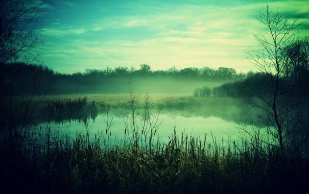 Фото обои небо, пейзаж, природа, туман, озеро, фото, обои