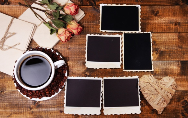 Фото обои цветы, кофе, розы, чашка
