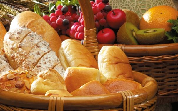 Фото обои яблоки, апельсины, киви, хлеб, виноград, орехи, сдоба