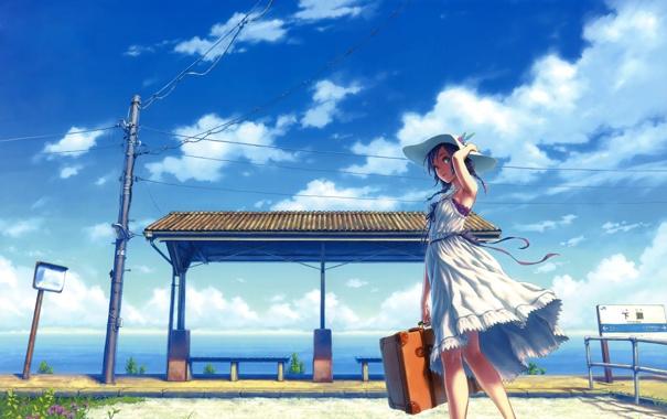 Фото обои девушка, платье, hisakata souj