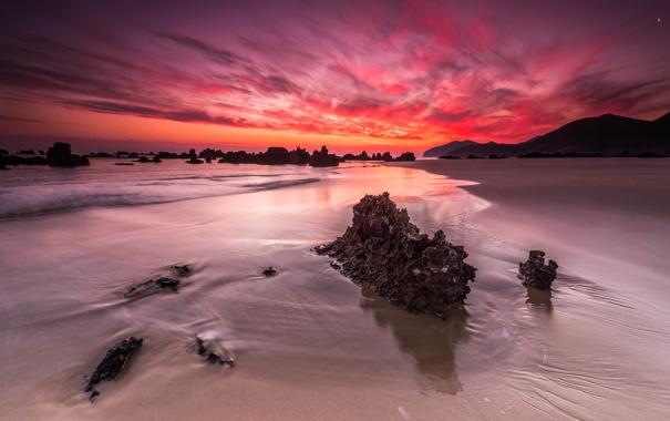 Фото обои море, пейзаж, закат