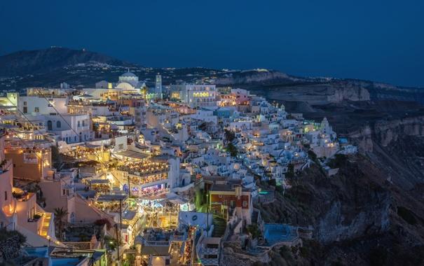 Фото обои ночь, город, огни, люди, вид, дома, греция