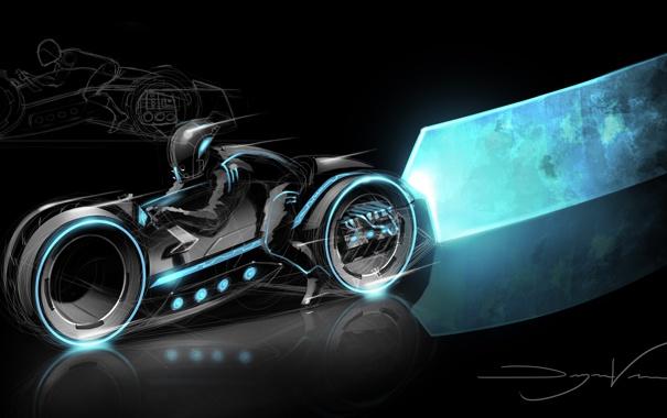 Фото обои фантастика, арт, мотоцикл, трон, Tron