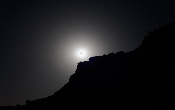 Фото обои небо, ночь, скала, луна, полнолуние