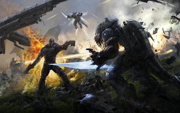 Фото обои металл, оружие, огонь, робот, арт, монстры, битва