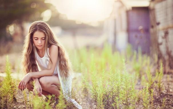 Фото обои волосы, девочка, боке, Lenna, Dina Telhami
