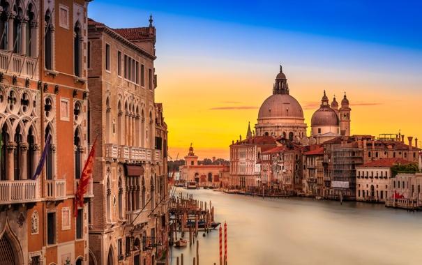 Фото обои дома, утро, Италия, Венеция, собор, канал, санта-мария-делла-салюте
