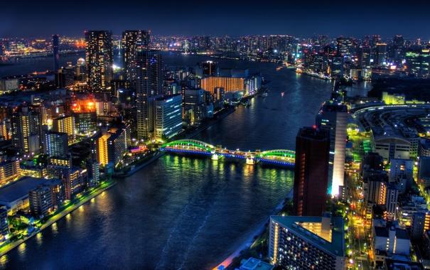 Фото обои ночь, мост, огни, дома, Япония, вода.