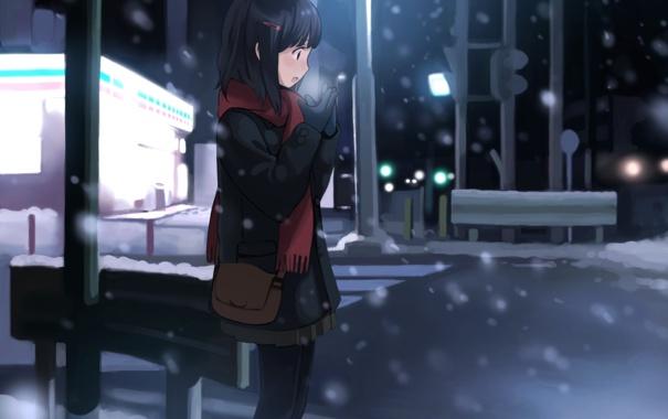 Фото обои зима, дорога, девушка, снег, город, аниме, шарф