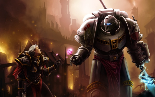 Фото обои меч, броня, warhammer 40000, art, Sisters of Battle, Warhammer 40K, WH40K