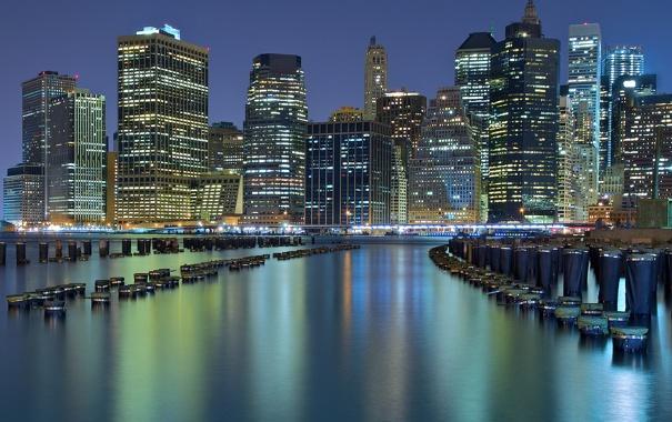 Фото обои здания, Нью-Йорк, залив, ночной город, небоскрёбы, New York City, сваи