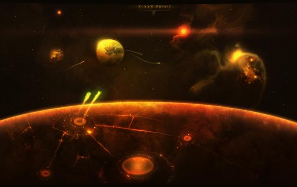 Фото обои поверхность, спутник, планета, звездолеты, круги