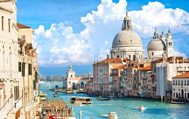 Фото обои корабль, дома, катер, Италия, Венеция, канал