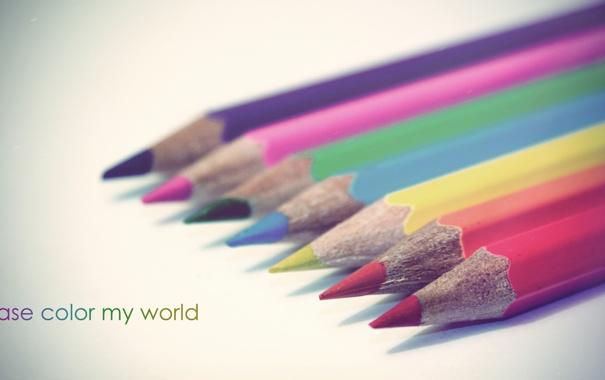 Фото обои мир, карандаши, разноцветные, разукрась, пожалуйста, мой