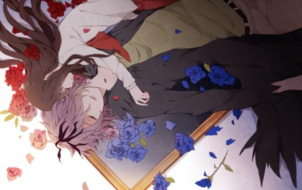 Фото обои девушка, цветы, крылья, картина, аниме, лепестки, арт