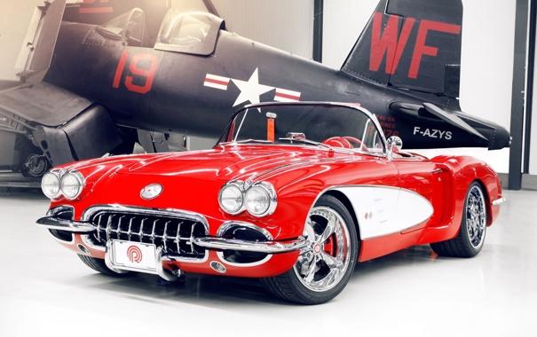 Фото обои красный, тюнинг, хвост, corvette, самолёт, шевроле, диски