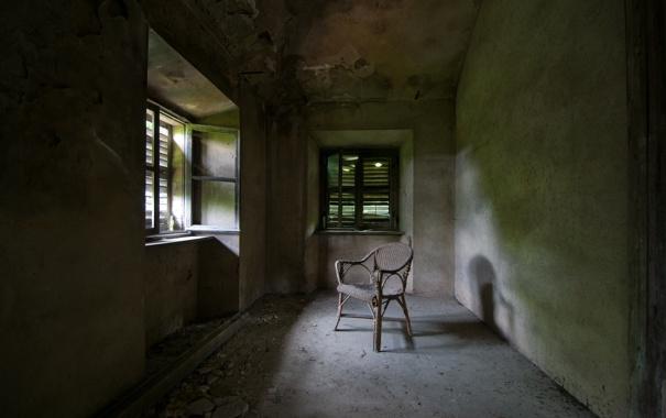 Фото обои окно, стул, комната