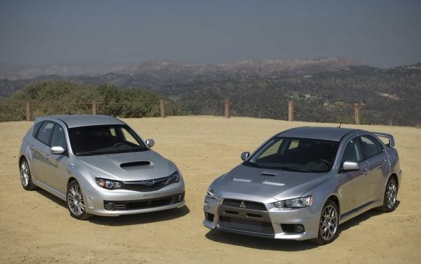 Фото обои Subaru Impreza WRX, cars, walls, and, Mitsubishi Lancer