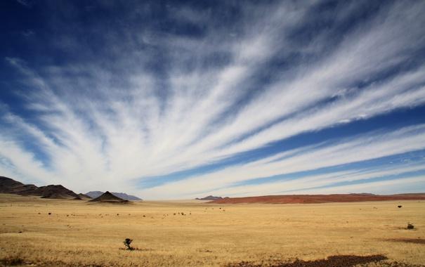 Фото обои небо, облака, горы, пустыня, равнина, африка, намибия
