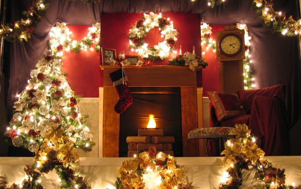 Фото обои украшения, огни, комната, праздник, елка, новый год, камин