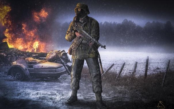 Фото обои снег, оружие, огонь, забор, мотоцикл, противогаз, мужчина