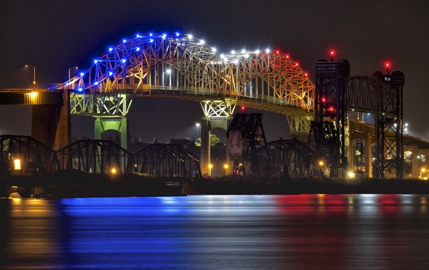 Фото обои ночь, огни, Мичиган, Marie International Bridge