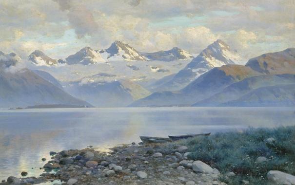Фото обои Крыжицкий, картина, Озеро в горах
