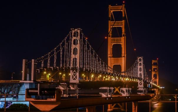 Фото обои ночь, мост, огни, Калифорния, Сан-Франциско, Золотые Ворота, Golden Gate Bridge