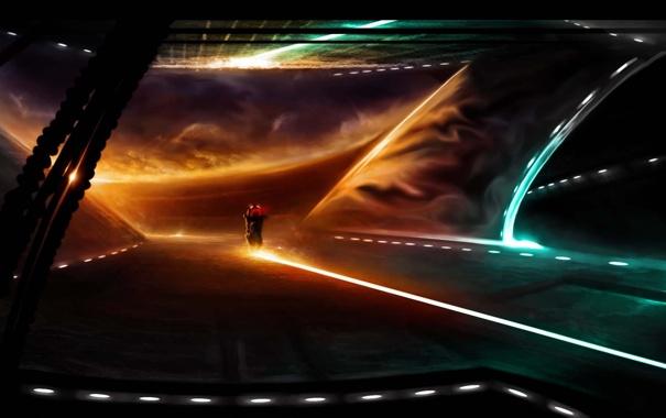 Фото обои закат, огни, фантастика, арт, мотоцикл, поездка, Alberto Vangelista