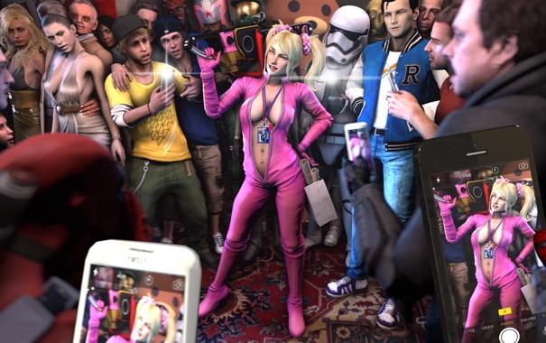Фото обои грудь, девушка, игры, блондинка, костюм, выставка, бензопила