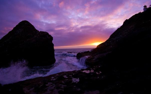 Фото обои море, волны, закат, скалы, чайки